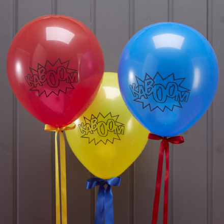 "Superhero Party Balloons ""KABOOM"" - pack of 10 balloons"